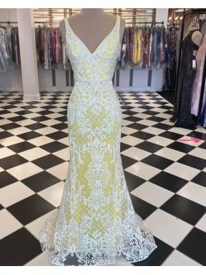 V Neck White & Yellow Lace Mermaid Prom Dress