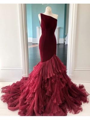 One Shoulder Burgundy Velvet Ruffled Mermaid Prom Dress