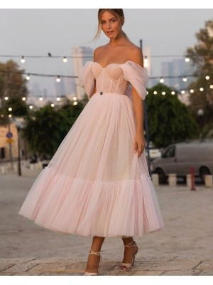 Off The Shoulder Light Pink Tulle Ankle Length Polka Dots Pleated Graduation Dress