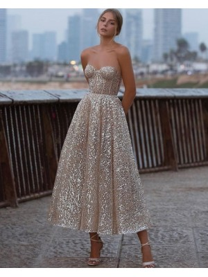 Sweetheart Ankle Length Gold Metallic Graduation Dress