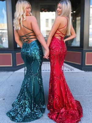 Halter Green Sequin Lace Mermaid Prom Dress