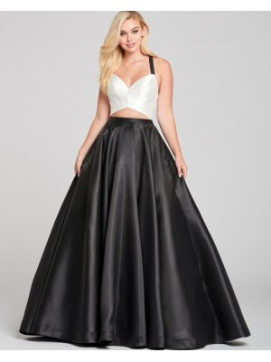 Simple Criss Cross Cutout White & Black Satin Prom Dress With Pockets