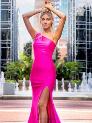 One Shoulder Fuchsia Satin Mermaid Prom Dress With Side Slit