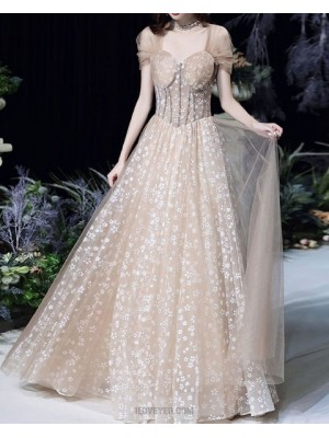 Queen Anne Lace Champagne Evening Dress With Tulle Cap Sleeves