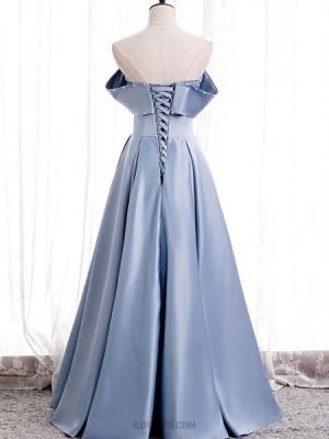 Strapless Knitted Body Light Blue Satin Evening Dress