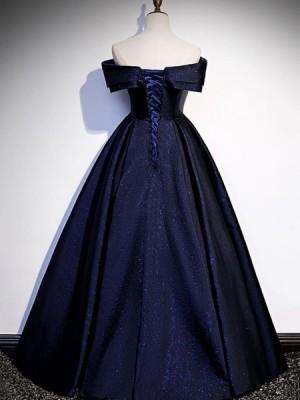 Off The Shoulder Navy Blue Glitter Knit Evening Dress