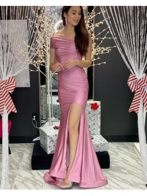 One Shoulder Ruched Dusty Pink Satin Mermaid Prom Dress With Side Slit
