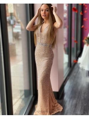 Deep V Neck Glitter Knit Gold Beading Prom Dress