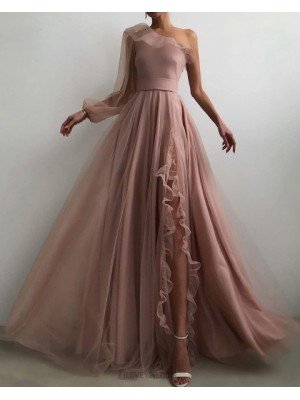 One Shoulder Tulle Nude Pleated Prom Dress With Side Slit