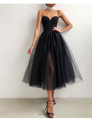 Knee Length Black Tulle Spaghetti Straps Graduation Dress With Side Slit
