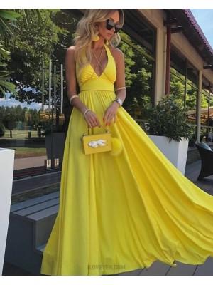 Simple Halter Yellow Satin Pleated Prom Dress
