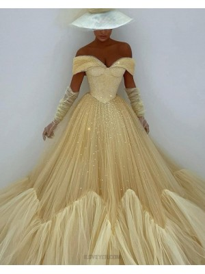 Off The Shoulder Light Yellow Glitter Pleated Evening Dress With Long Sleeves