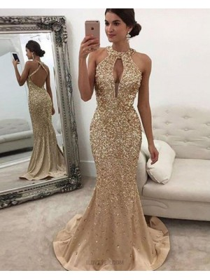 Gold High Neck Beading Cutout Mermaid Long Evening Dress