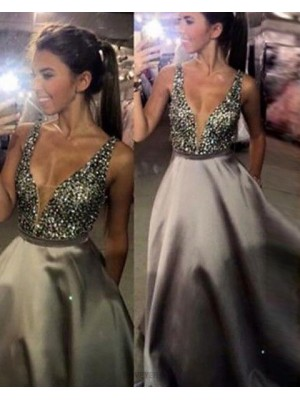 Deep V Neck Beading Bodice Ivory Satin Ball Gown Prom Dress With Pockets