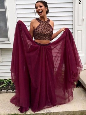 Two Piece High Neck Burgundy Beading Long Prom Dress