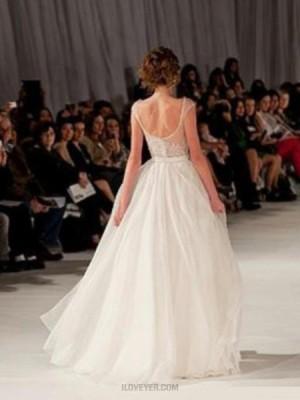 Ivory Bateau Sheer Beading Bodice Tulle Long Prom Dress With Side Slit