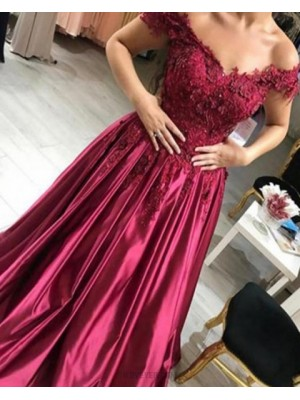 Off The Shoulder Beading Handmade Flowers Burgundy Ball Gown Prom Dress