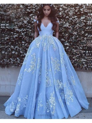Off The Shoulder Sky Blue Appliqued Ball Gown Prom Dress With Pockets