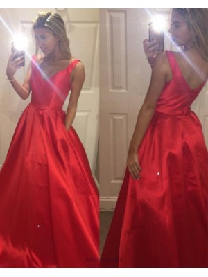 Simple V Neck Satin Red Ball Gown Prom Dress With Pockets