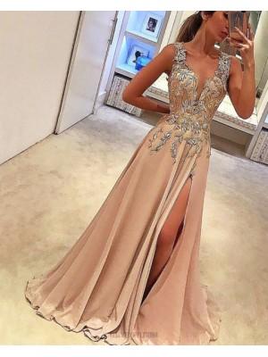 Deep V Neck Lace Appliqued Blush Pink Satin Prom Dress With Side Slit