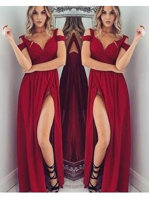 Cold Shoulder Satin Red Ruched Long Prom Dress With Side Slit