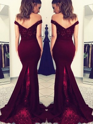 Off The Shoulder Burgundy Beading Appliqued Bodice Satin Mermaid Prom Dress