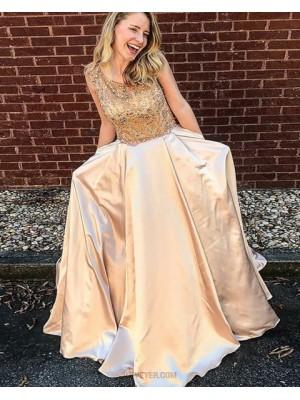 Jewel Beading Bodice Champagne Satin Prom Dress With Pockets