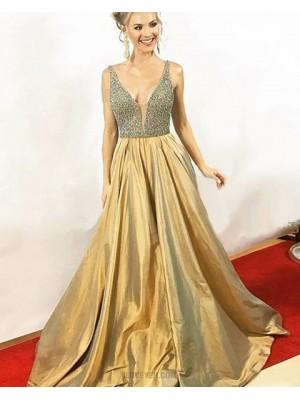 Elegant V Neck Beading Bodice Gold Satin Long Prom Dress