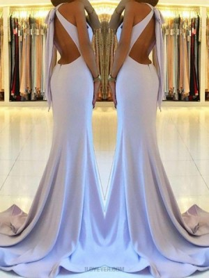 High Neck Dusty Blue Cutout Satin Mermaid Long Prom Dress With Side Slit