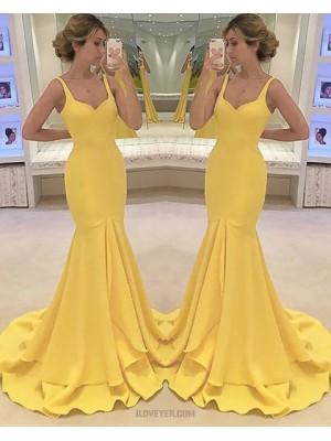 Square Satin Yellow Mermaid Long Prom Dress