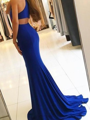 High Neck Blue Mermaid Satin Prom Dress With Side Slit