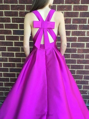 Halter Fuchsia Satin Long Ball Gown Prom Dress With Pockets