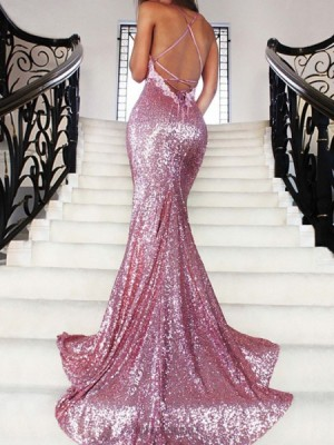 Spaghetti Straps Rose Gold Sequined Mermaid Prom Dress