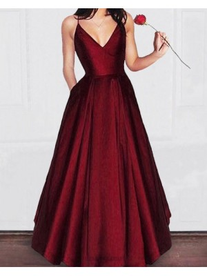 Simple Spaghetti Straps Burgundy Pleated Satin Long Prom Dress With Pockets