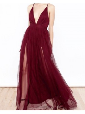 Spaghetti Straps Burgundy Tulle Long Prom Dress With Double Slits