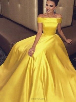 Simple Off The Shoulder Yellow Long Prom Dress With Pockets