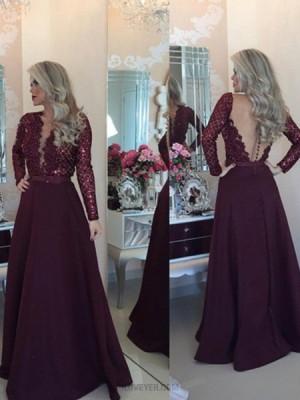 Round Neck Beading Bodice Burgundy Prom Dress With Long Sleeves
