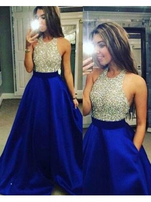 Halter Beading Satin Blue Ball Gown Prom Dress With Pockets