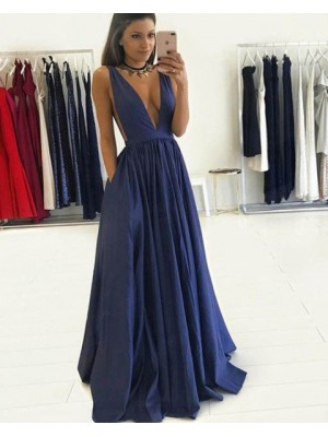 Deep V Neck Navy Blue Pleated Long Prom Dress With Pockets