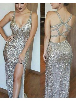 V Neck Gold Sequined Long Mermaid Style Evening Dress With Side Slit