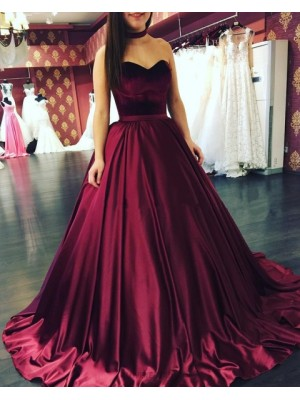 Simple Sweetheart Burgundy Satin Pleated Ball Gown Prom Dress