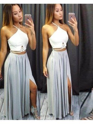 Halter White And Dusty Blue Cutout Chiffon Prom Dress With Side Slit