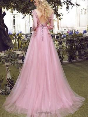 V Neck Blush Pink Tulle Long Handmade Flower Evening Dress With Long Sleeves