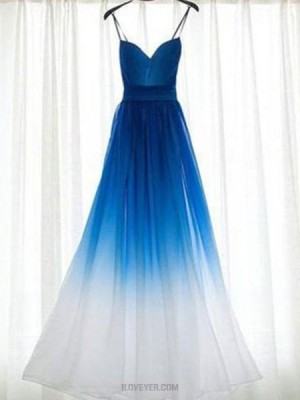 Spaghetti Straps Ombre Blue And White Ruched Tulle Bridesmaid Dress