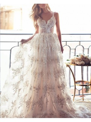 Stunning White Spaghetti Straps Lace Pleated Long Evening Dress