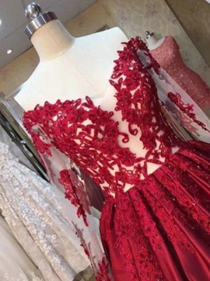 Off The Shoulder Red Appliqued Satin Ball Gown Evening Dress With Long Sleeves