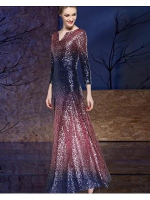 Cutout Gold & Blue Sequined Sheath Evening Dress With Long Sleeves