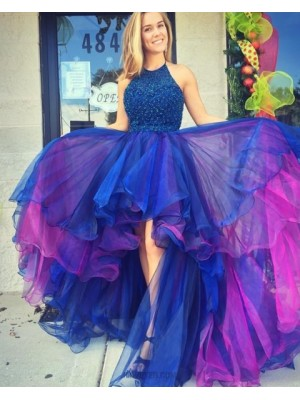 Halter High Low Blue And Red Tulle Beading Prom Dress