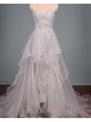 Sweetheart Ruched Beading High Low Grey Ruffled Prom Dress