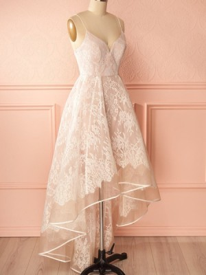 High Low Champagne Spaghetti Straps Lace Prom Dress